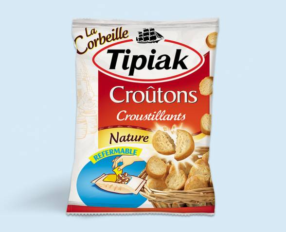 Basket of plain round croutons TIPIAK