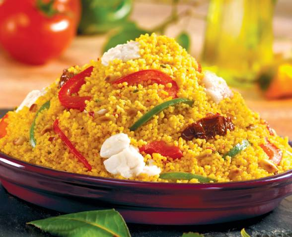 Couscous Mediterranean Style With Its Fish Fillet